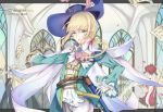 1boy androgynous artist_name belt blonde_hair blue_eyes cape character_name chevalier_d'eon_(fate/grand_order) contest_winner dated fate/grand_order fate_(series) highres holding holding_sword holding_weapon jingzhongyin long_hair low_ponytail parted_lips pixiv_fate/grand_order_contest_1 saber_(weapon) scabbard sheath side_ponytail sword trap weapon