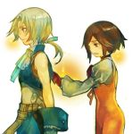 1boy 1girl black_hair blonde_hair bodysuit breasts brown_hair commentary_request final_fantasy final_fantasy_ix garnet_til_alexandros_xvii gloves kochimo orange_bodysuit partial_commentary ponytail short_hair white_background zidane_tribal