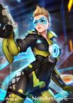 1girl blonde_hair bodysuit breasts brown_eyes freckles gun handgun hips lightning_tracer lips nudtawut_thongmai overwatch parted_lips pistol short_hair signature smile solo thighs tracer_(overwatch) weapon