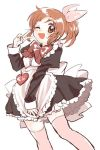 1girl ;d abe_nana amezawa_koma apron black_dress blush bow bowtie brown_eyes brown_hair commentary_request dress eyebrows_visible_through_hair feet_out_of_frame hair_bow heart idolmaster idolmaster_cinderella_girls maid maid_apron one_eye_closed open_mouth pink_bow pink_legwear ponytail simple_background sketch smile solo sweatdrop thigh-highs v