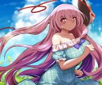 1girl alternate_costume bare_shoulders breasts clouds cloudy_sky commentary_request dress expressionless fox_mask hair_between_eyes hata_no_kokoro large_breasts long_hair looking_at_viewer mask pink_eyes pink_hair plaid plaid_dress sky solo touhou umigarasu_(kitsune1963) very_long_hair