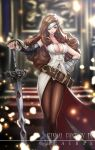 1girl armor beatrix belt black_legwear blurry blurry_background boots breasts brown_eyes brown_hair character_name cleavage closed_mouth commentary_request copyright_name dress drill_hair eyepatch final_fantasy final_fantasy_ix fingernails gauntlets gloves greaves hand_on_hip hand_on_sword highres ikeda_(hayato) large_breasts light_frown long_hair looking_at_viewer pantyhose save_the_queen shirt sleeveless sleeveless_shirt solo standing sword weapon white_dress