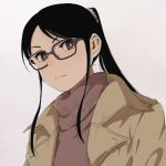1girl black_hair brown_eyes chiaki_rakutarou coat glasses koiwai_koharuko long_hair ponytail scrunchie simple_background solo sweater turtleneck turtleneck_sweater yotsubato!