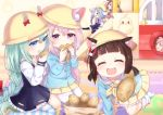 >_< 6+girls :d all_fours animal_ears azur_lane bag bangs beret black_dress black_legwear blue_dress blue_eyes blue_hair blue_shirt blush bow bowtie brown_hair cat_ears closed_eyes commentary_request dog_ears dress ears_through_headwear eating eyebrows_visible_through_hair facing_viewer fang food fumizuki_(azur_lane) green_hair hair_between_eyes hat holding holding_food kindergarten_uniform kisaragi_(azur_lane) koko_ne_(user_fpm6842) long_hair long_sleeves looking_at_viewer loose_socks mikazuki_(azur_lane) minazuki_(azur_lane) multiple_girls mutsuki_(azur_lane) neckerchief no_shoes open_mouth outstretched_arm paper_bag pink_hair pink_skirt pleated_dress pleated_skirt red_bow school_hat shirt single_thighhigh sitting skirt slide smile striped striped_legwear taiyaki thick_eyebrows thigh-highs uzuki_(azur_lane) very_long_hair violet_eyes wagashi wariza white_legwear xd yellow_hat yellow_neckwear yellow_skirt