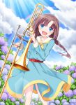 1girl :d blue_dress blush braid brown_hair clouds cross cross_necklace day dress eyebrows_visible_through_hair flower haradaiko_(arata_himeko) head_tilt holding holding_instrument hoshizaki_rika hydrangea instrument jewelry leaning_to_the_side long_hair long_sleeves looking_at_viewer low_twintails neckerchief necklace open_mouth outdoors rainbow raramagi sailor_dress sky smile solo sparkle standing sunlight trombone twin_braids twintails