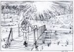 1girl :d black_border border bridge dated day forest graphite_(medium) grass greyscale hand_up jacket key_frame light_rays loafers long_hair long_sleeves monochrome nature open_mouth outdoors pink_x pleated_skirt reisen_udongein_inaba river scan shoes skirt smile socks solo standing touhou traditional_media wooden_bridge