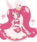 1girl :d animal_ears ariesuzu_(ariessz) bangs blush bow cake_hair_ornament choker collarbone cure_whip dress eyebrows eyebrows_visible_through_hair eyelashes flat_chest food_themed_hair_ornament frilled_dress frills gloves hair_ornament hairband kirakira_precure_a_la_mode long_hair magical_girl open_mouth pink pink_bow pink_choker pink_dress pink_eyes pink_gloves pink_hair pink_hairband precure rabbit_ears simple_background smile solo star twintails usami_ichika very_long_hair white_background