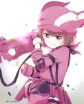 >:) 1girl animal_ears animal_hat arm_strap arm_up artist_name backlighting bafarin bandanna bangs bloom blunt_bangs blurry blush bob_cut breast_pocket brown_hair bullpup bunny_hat cowboy_shot depth_of_field diffraction_spikes elbow_pads eyebrows_visible_through_hair finger_on_trigger fur-trimmed_gloves fur_trim gloves gradient gradient_background grin gun hat head_tilt highres holding holding_gun holding_weapon holster jacket knee_pads knee_up leg_strap leg_up llenn_(sao) long_sleeves looking_at_viewer p-chan_(sao) p90 pants pink_bandanna pink_eyes pink_gloves pink_hat pink_jacket pink_pants pocket rabbit_ears scratches short_hair simple_background sleeve_cuffs smile smirk solo standing submachine_gun swept_bangs sword_art_online sword_art_online_alternative:_gun_gale_online teeth tsurime twisted_torso weapon white_background