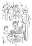3boys :d absurdres anger_vein bag beanie comic crossed_arms fist_in_hand full_body greyscale hand_in_pocket hat highres monochrome multiple_boys open_mouth original pants pcmaniac88 satchel shirt silent_comic smile spiky_hair standing t-shirt tank_top