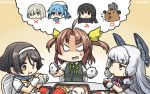 6+girls ahoge anger_vein animalization bangs beaver blunt_bangs breast_envy commentary_request dated detached_hair eating eating_hair food gloves hair_ornament hair_ribbon hairband hairclip hamakaze_(kantai_collection) hamburger hamu_koutarou hat highres isokaze_(kantai_collection) kagerou_(kantai_collection) kantai_collection multiple_girls murakumo_(kantai_collection) remodel_(kantai_collection) ribbon school_uniform serafuku short_eyebrows sweatdrop tanikaze_(kantai_collection) tress_ribbon urakaze_(kantai_collection) white_gloves yellow_ribbon yukikaze_(beaver) yukikaze_(kantai_collection)