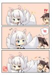 2girls absurdres animal_ears azur_lane blush breasts cleavage fox_ears fox_tail hair heart highres japanese_clothes kaga_(azur_lane) kaga_(kantai_collection) kantai_collection long_hair multiple_girls open_mouth smile spoken_heart tail tail_hug tail_wagging taisa_(kari) white_hair