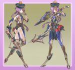 1girl absurdres android bonesfish bow_(weapon) braid chest_jewel crossbow digitigrade grin hair_over_one_eye hat highres jiangshi lantern ofuda original over_shoulder purple_hair red_eyes robot_joints scar sharp_teeth smile stitches sword sword_over_shoulder teeth weapon weapon_over_shoulder