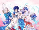 1boy 1girl bare_shoulders blue_eyes blue_hair bouquet bridal_veil bride couple dress elbow_gloves fire_emblem fire_emblem:_monshou_no_nazo fire_emblem_heroes flamingo_(eme324) flower formal gloves groom highres jewelry long_hair marth necklace open_mouth pegasus_knight sheeda smile strapless suit tiara tuxedo veil weapon wedding wedding_dress white_dress white_flower white_gloves