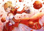 1girl blonde_hair bow braid closed_mouth cowboy_shot dress fate/extra fate/grand_order fate_(series) flower french_braid gradient gradient_background green_eyes hair_bow hair_bun hair_intakes juliet_sleeves leotard long_sleeves looking_at_viewer nero_claudius_(fate) nero_claudius_(fate)_(all) petals pink_background pixiv_fate/grand_order_contest_2 puffy_sleeves ratise red_bow red_dress red_flower red_rose rose rose_petals saber_extra see-through short_hair skirt smile solo white_background white_leotard