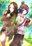 2girls :d bangs black_shorts blue_eyes blue_sky blush breasts brown_hair brown_shirt casual cleavage closed_mouth clouds cloudy_sky commentary_request day fate/grand_order fate_(series) fingernails forehead green_jacket grey_hoodie hair_bun hair_ornament hand_up highres holding holding_pencil hood hood_down hoodie iroha_(shiki) jacket katsushika_hokusai_(fate/grand_order) leonardo_da_vinci_(fate/grand_order) long_sleeves looking_at_viewer medium_breasts multiple_girls open_clothes open_jacket open_mouth outdoors parted_bangs pencil purple_hair shirt short_shorts shorts sky sleeves_past_wrists smile standing tree violet_eyes