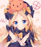 1girl :t abigail_williams_(fate/grand_order) bangs black_bow black_dress black_hat blonde_hair blue_eyes blush bow candy_wrapper closed_mouth commentary_request dress eyebrows_visible_through_hair fate/grand_order fate_(series) forehead hair_bow hands_up hat long_hair long_sleeves nahaki no on_head orange_bow parted_bangs polka_dot polka_dot_bow pout sleeves_past_wrists solo stuffed_animal stuffed_toy teddy_bear v-shaped_eyebrows very_long_hair x_arms