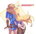 1boy 1girl ass blonde_hair blue_eyes blush closed_eyes earrings gloves hair_ornament heart jewelry kiss link long_hair pointy_ears ponytail princess_zelda shuri_(84k) simple_background the_legend_of_zelda the_legend_of_zelda:_breath_of_the_wild