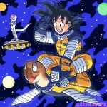 2boys :d animal black_eyes black_hair capsule_corp crossed_arms dragon_ball dragonball_z eyebrows_visible_through_hair frieza full_body gloves happy legs_crossed looking_away lowres male_focus multiple_boys open_mouth planet short_hair sitting sitting_on_animal sky smile son_gokuu space space_craft spacesuit spiky_hair standing star_(sky) stargeyser starry_sky tail turtle umigame_(dragon_ball) zipper
