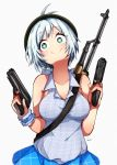 +_+ 1girl absurdres antenna_hair bangs bare_shoulders blue_eyes blue_shirt blue_skirt blush breasts closed_mouth collarbone collared_shirt commentary_request dennou_shoujo_youtuber_shiro dual_wielding eyebrows_visible_through_hair grey_background gun hair_between_eyes handgun head_tilt highres holding holding_gun holding_weapon large_breasts looking_at_viewer motimotifukurou plaid plaid_shirt plaid_skirt pleated_skirt shiro_(dennou_shoujo_youtuber_shiro) shirt signature silver_hair simple_background skirt smile solo virtual_youtuber weapon weapon_on_back weapon_request wrist_cuffs
