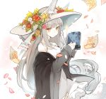 1girl animal_ears bangs bare_shoulders book closed_mouth collarbone commentary_request dress ears_through_headwear eyebrows_visible_through_hair flower fox_ears grey_jacket hat holding holding_book jacket long_hair long_sleeves mitu_yang orange_eyes original paper petals red_flower silver_hair sleeveless sleeveless_dress sleeves_past_wrists solo sparkle strap_slip very_long_hair white_dress white_flower white_hat yellow_flower