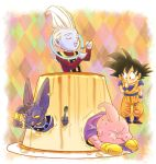 4boys :p animal antennae beerus black_eyes black_hair boots cape cat chibi closed_eyes commentary_request dessert dougi dragon_ball dragonball_z eating eyebrows_visible_through_hair finger_to_mouth fingernails food full_body gloves happy long_sleeves looking_at_another majin_buu male_focus multicolored multicolored_background multiple_boys open_mouth plate pudding short_hair smile son_gokuu spiky_hair spoon stargeyser tongue tongue_out whis white_hair