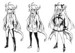 1boy ahoge bare_shoulders blush commentary crossdressing demon_tail detached_sleeves english_commentary hand_on_hip horns long_hair long_sleeves looking_at_viewer multiple_views open_mouth original pcmaniac88 pleated_skirt pointy_ears skirt sleeves_rolled_up tail thigh-highs trap twintails very_long_hair white_background