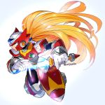 android artist_name beam_saber blonde_hair blue_eyes capcom commentary_request energy_blade energy_sword full_body gloves helmet highres holding lightsaber long_hair looking_to_the_side male_focus ponytail rockman rockman_x serious shiny shiny_hair simple_background solo sword very_long_hair weapon white_gloves yuriyuri_(ccc) zero_(rockman)