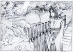 1girl black_border border bow bush character_request closed_mouth dated eyebrows_visible_through_hair fence flower graphite_(medium) greyscale hair_flower hair_ornament hakama highres japanese_clothes key_frame long_sleeves monochrome outdoors own_hands_together path pink_x road scan smile solo standing touhou traditional_media tree