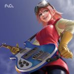1girl bass_guitar breasts commentary day english_commentary flcl freckles gloves goggles goggles_on_head green_eyes hair_between_eyes hand_on_hip haruhara_haruko instrument large_breasts lips looking_at_viewer looking_down mouth_hold nose pants parted_lips pink_hair plectrum ruben_de_vela short_hair smile solo strap yellow_gloves zipper