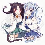 2girls animal_ears asashio_(azur_lane) azur_lane bangs bare_shoulders bell blue_eyes blue_hair blue_ribbon blue_skirt braid breasts brown_hair cake_(isiofb) cat_ears cat_girl cat_tail commentary_request detached_sleeves eyebrows_visible_through_hair frilled_skirt frills green_skirt grey_background hair_ribbon highres japanese_clothes jingle_bell kimono long_sleeves low_twintails medium_breasts multiple_girls ooshio_(azur_lane) parted_bangs pleated_skirt red_eyes ribbon ribbon-trimmed_legwear ribbon_trim skirt sleeves_past_fingers sleeves_past_wrists tail twin_braids twintails white_kimono white_legwear wide_sleeves