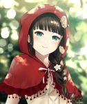 1girl aqua_eyes bangs black_hair blunt_bangs blurry blurry_background bokeh braid capelet cosplay depth_of_field flower grimm's_fairy_tales hair_over_shoulder hood hood_up kurosawa_dia little_red_riding_hood little_red_riding_hood_(grimm) little_red_riding_hood_(grimm)_(cosplay) long_hair looking_at_viewer love_live! love_live!_sunshine!! mole mole_under_mouth papi_(papiron100) parted_lips red_capelet red_hood signature single_braid smile solo upper_body