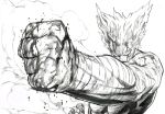 1boy absurdres bandage bandaged_arm blank_eyes blood blood_on_face clenched_hand commentary_request facing_viewer foreshortening garou_(one-punch_man) greyscale highres male_focus monochrome murata_yuusuke muscle official_art one-punch_man perspective pointy_hair shirtless simple_background smoke solo sweat white_background