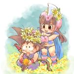 1boy 1girl :d :o armor bikini bikini_armor black_eyes black_hair boots cape chi-chi_(dragon_ball) dougi dragon_ball dragon_ball_(classic) dragon_ball_(object) eyebrows_visible_through_hair flower full_body gloves happy head_wreath helmet long_hair looking_at_another looking_up lowres navel nyoibo open_mouth short_hair sitting sleeveless smile son_gokuu spiky_hair standing stargeyser surprised swimsuit tail wristband yellow_flower