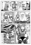 3girls ahoge akebono_(kantai_collection) apron badge bandaid bandaid_on_face bell commentary_request enemy_lifebuoy_(kantai_collection) flower greyscale hair_bell hair_bobbles hair_flower hair_ornament hat headphones highres jingle_bell kantai_collection machinery monochrome multiple_girls neck_ribbon oboro_(kantai_collection) otoufu pleated_skirt remodel_(kantai_collection) ribbon rigging sazanami_(kantai_collection) school_uniform serafuku short_hair side_ponytail skirt skirt_flip smokestack standing standing_on_liquid straw_hat submarine_new_hime swimsuit swimsuit_under_clothes translation_request twintails ushio_(kantai_collection) w_arms