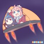 2girls :d ahoge beanie blue_eyes blue_hair copyright_name flying hair_bun hat hetareeji kagamihara_nadeshiko liftoff multiple_girls open_mouth pink_hair rocket scarf shima_rin smile tent waving yurucamp