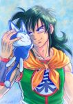 1boy 2016 ^_^ animal animal_ears black_eyes black_hair blue_background cat_ears closed_eyes dated dragon_ball dragon_ball_(classic) fingernails green_shirt hands_on_another's_head happy hug long_hair looking_at_another male_focus muscle neckerchief puar shirt simple_background sleeveless smile stargeyser tail upper_body whiskers wristband yamcha