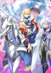 1boy 2girls :d artoria_pendragon_(all) artoria_pendragon_(lancer) bangs blonde_hair breasts cleavage commentary_request crown dun_stallion fate/grand_order fate_(series) gauntlets green_eyes hair_between_eyes highres horse horseback_riding huge_breasts lance medium_hair merlin_(fate/stay_night) mordred_(fate) mordred_(fate)_(all) mother_and_daughter multiple_girls ohako_(ohako1818) one_eye_closed open_mouth petals pillar pixiv_fate/grand_order_contest_2 polearm rhongomyniad riding silver_hair smile swept_bangs weapon younger