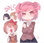 4girls :/ :d ^_^ aqua_eyes bangs black_hair black_skirt blush bow brown_hair buttons closed_eyes closed_mouth collared_shirt copyright_name crossed_arms doki_doki_literature_club fang g_perarikku grey_jacket hair_bow hair_intakes heart heart_in_mouth holding jacket long_hair long_sleeves monika_(doki_doki_literature_club) multiple_girls natsuki_(doki_doki_literature_club) noose open_clothes open_jacket open_mouth orange_hair pink_eyes pink_hair red_bow sayori_(doki_doki_literature_club) shirt short_hair simple_background skirt smile spoilers two_side_up upper_body violet_eyes white_background white_bow white_shirt yuri_(doki_doki_literature_club)