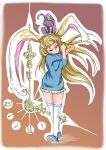 1girl absurdres alice_(wonderland) alice_in_wonderland animal_ears blonde_hair blue_dress blue_eyes blue_footwear brown_background bunny_tail cheshire_cat clock_hands doitsuken dress gradient gradient_background highres horizontal_stripes long_hair looking_at_viewer medium_sleeves one_eye_closed rabbit_ears solo striped tail thigh-highs walking white_legwear