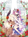 1boy 1girl asterios_(fate/grand_order) bare_legs barefoot black_sclera dark_skin dress euryale fate/grand_order fate_(series) flower hair_flower hair_ornament hairband holding holding_flower long_hair looking_at_viewer pixiv_fate/grand_order_contest_2 purple_hair red_eyes red_flower red_rose rose sash sitting_on_shoulder size_difference smile soriya twintails violet_eyes white_dress white_hair