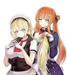 2girls american_flag apron bangs blazer blonde_hair blue_eyes blush braid braiding_hair breasts brown_hair dress embarrassed eyebrows_visible_through_hair fingers_together g36_(girls_frontline) girls_frontline gloves green_eyes hair_between_eyes hair_ribbon hair_rings hairdressing jacket kerchief large_breasts long_hair long_sleeves looking_at_another looking_at_viewer m1903_springfield_(girls_frontline) maid maid_apron maid_headdress medium_breasts multiple_girls neck_ribbon ponytail red_neckwear red_ribbon ribbon sash shirt sidelocks simple_background smile taesi tareme twitter_username very_long_hair white_background white_dress white_gloves