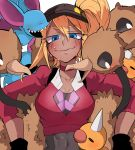 1girl bangs baseball_cap black_gloves black_hat blonde_hair blue_eyes blush breasts choker cleavage closed_mouth collarbone covered_navel crop_top dark_skin doduo eyebrows eyebrows_visible_through_hair eyelashes female_protagonist_(pokemon_go) g_perarikku gen_1_pokemon gloves hair_between_eyes hat large_breasts long_hair pokemon pokemon_(game) pokemon_go red_choker red_shirt shirt side_ponytail smile sweat upper_body wavy_mouth weedle zubat