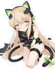 1girl animal_ears arm_strap arm_support bangs between_legs black_leotard blonde_hair blush bow breasts brown_hair cat_ear_headphones cat_ears cat_tail character_name damaged eyebrows_visible_through_hair girls_frontline gloves green_eyes groin hair_between_eyes hand_between_legs headphones highres leotard long_hair looking_at_viewer open_mouth ribbon sidelocks solo squatting tail thigh_strap thighs tmp_(girls_frontline) torn_clothes torone_(emerada121) very_long_hair