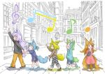 5girls :d animal_ears blonde_hair blue_eyes blue_footwear blue_hair blue_shirt blush_stickers brown_footwear brown_hair brown_shirt child closed_eyes collar commentary_request covering_mouth crosswalk dog_child_(doitsuken) doitsuken dress fang fox_ears fox_tail from_side green_hair grey_footwear grey_shirt hand_holding hand_over_own_mouth hand_up highres long_hair long_sleeves multiple_girls musical_note open_mouth original pants pink_dress polka_dot purple_hair revision shirt shoes shorts smile socks spiked_collar spikes tail tail_grab waving white_legwear yellow_pants