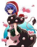 1girl blue_eyes blue_hair blush book capelet commentary doremy_sweet dream_soul dress hat layered_dress looking_at_viewer nightcap pom_pom_(clothes) short_hair smile solo tail tapir_tail touhou yasui_nori