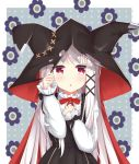 1girl :o absurdres animal_ears animal_hood azur_lane bangs black_bow black_dress blush bow cape center_frills commentary_request dress erebus_(azur_lane) eyebrows_visible_through_hair frills hair_ornament hairclip hands_up highres hood hood_up hooded_cape long_hair long_sleeves parted_lips red_bow red_cape red_eyes shirt silver_hair sleeveless sleeveless_dress sleeves_past_wrists solo very_long_hair voids white_shirt