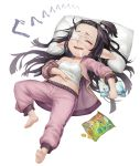 1girl bare_shoulders barefoot black_hair blush book camisole censored chips closed_eyes drooling eyepatch food full_body granblue_fantasy hand_on_own_stomach harvin holding holding_book long_hair lunalu_(granblue_fantasy) lying medical_eyepatch mosaic_censoring navel on_back open_clothes open_mouth open_shirt pants pointy_ears potato_chips purple_pants saliva scotishfold sleeping solo strap_slip very_long_hair white_background white_pillow