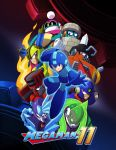 6+boys absurdres arm_cannon block_man blue_eyes blue_footwear blue_gloves capcom clenched_teeth copyright_name everyone fire fuse_man gears gloves helmet highres looking_at_viewer multiple_boys official_art red_eyes robot rockman rockman_(character) rockman_(classic) rockman_11 serious smile teeth violet_eyes weapon yellow_eyes