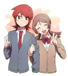 1boy 1girl :d ^_^ alternate_costume bangs blush bow bowtie brown_cardigan brown_hair buttons cardigan closed_eyes closed_mouth collared_shirt eyebrows eyebrows_visible_through_hair gensi hair_between_eyes hand_on_another's_arm hand_up head_tilt kotone_(pokemon) long_hair long_sleeves necktie open_mouth parted_bangs pokemon pokemon_(game) pokemon_hgss red_bow red_eyes red_neckwear redhead school_uniform shirt side-by-side silver_(pokemon) smile sweatdrop twintails v white_shirt