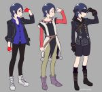 1boy black_gloves black_legwear blindfold blue_hair boots cosplay do_m_kaeru dragon_quest dragon_quest_xi gloves kitagawa_yuusuke nier_(series) nier_automata persona persona_5 persona_5:_dancing_star_night short_hair shorts yorha_no._9_type_s yorha_no._9_type_s_(cosplay)